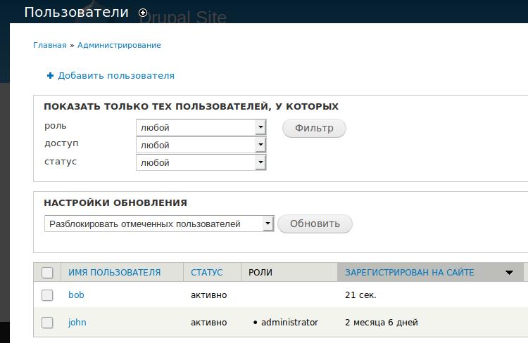 Рис. 5: административная страница добавления нового пользователя в Drupal 7.
